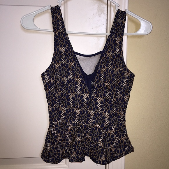 a771081e44c Lace peplum gold and navy blue tank top